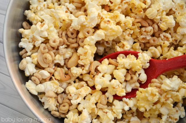 Honey Nut Popcorn Mix Stir