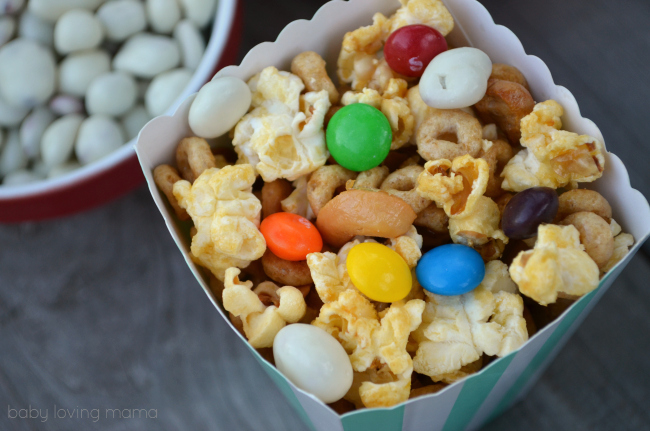 Honey Nut Popcorn Mix with Candy Toppings for movie night