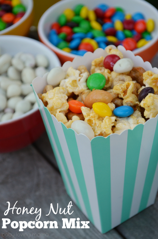 Honey Nut Popcorn Mix with Candy