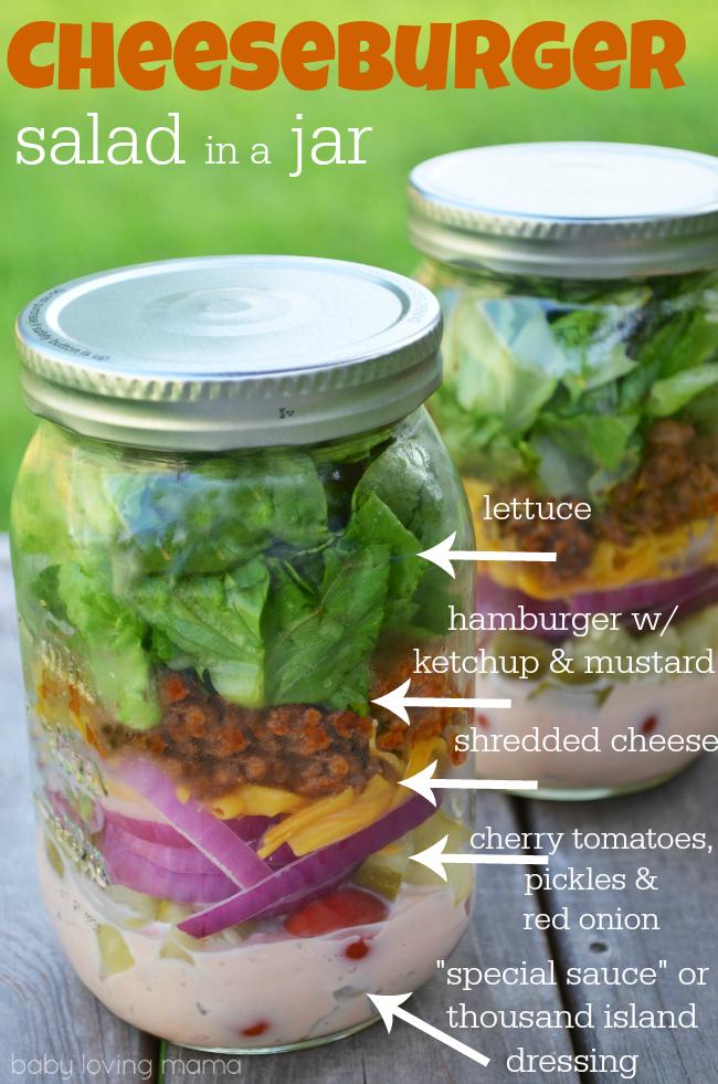 Cheeseburger Salad in a Jar Contents