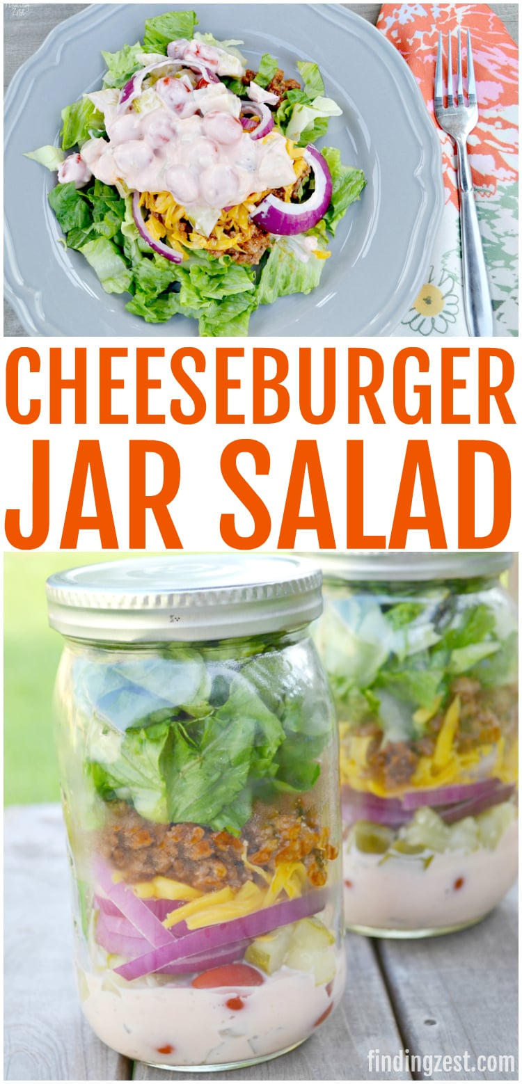 If you love cheeseburgers you'll love this cheeseburger salad in a jar recipe! Loaded with romaine lettuce, hamburger with ketchup and mustard, cheese, tomatoes, onions, pickles and special sauce, this jar salad is perfect for taking on the go for lunch or your next picnic.