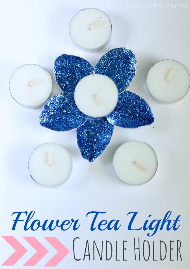 diy flower tea light candle holder finding zest. Black Bedroom Furniture Sets. Home Design Ideas