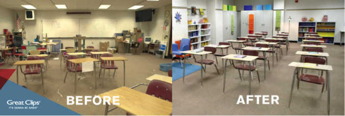 Great Clips Adopt a Classroom Before and After