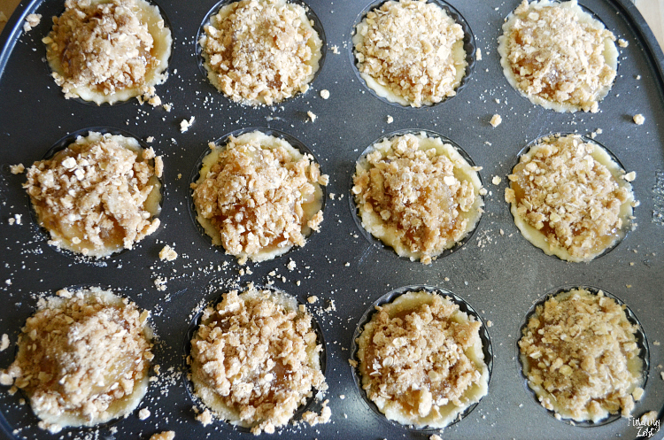 These mini apple tarts are ridiculously delicious and easy! They feature a sugar cookie bottom, apple pie filling and oatmeal crumb topping - a winning combination! This apple tart recipe is a great way to use the mini Wilton tart pan.