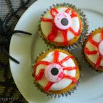 Bloody Eyeball Halloween Cupcakes #WiltonTreatTeam