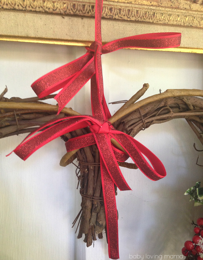 Christmas Heart Wreath with Ribbon