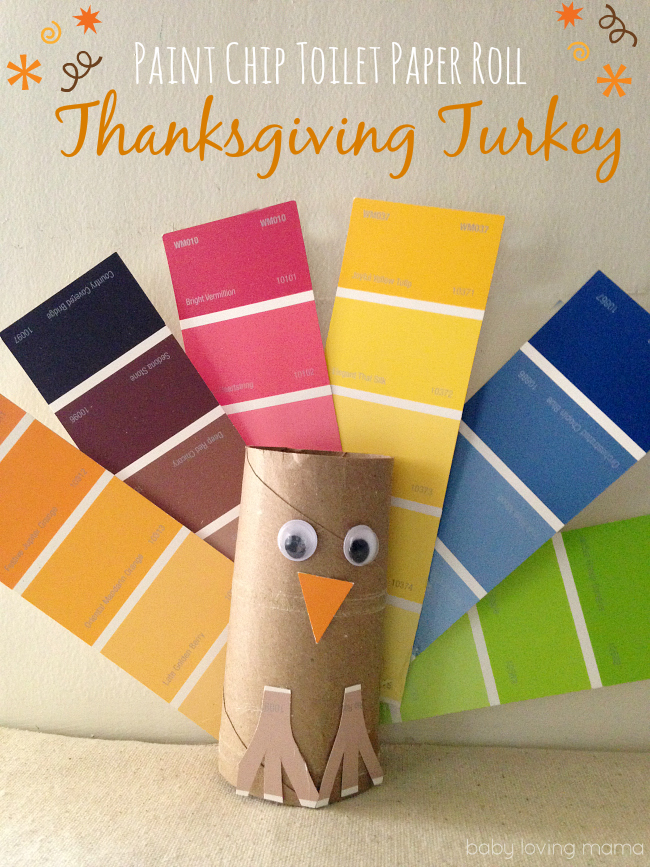 Paint Chip Toilet Paper Roll Turkey Craft for Thanksgiving