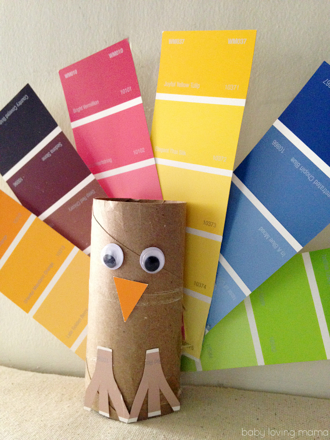 Paint Chip Turkey Craft For Thanksgiving