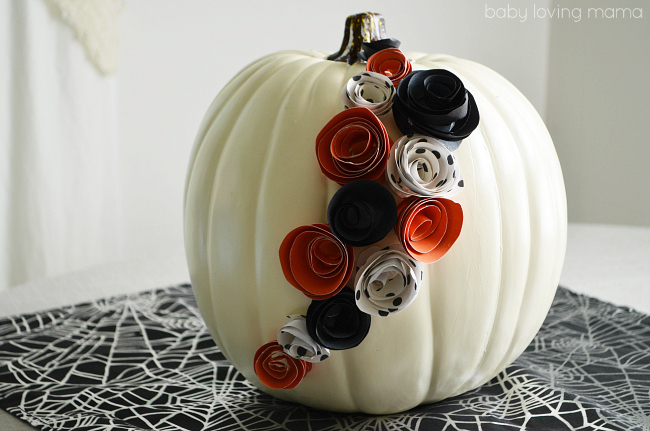 White Pumpkin Decor with Paper Flowers for Halloween