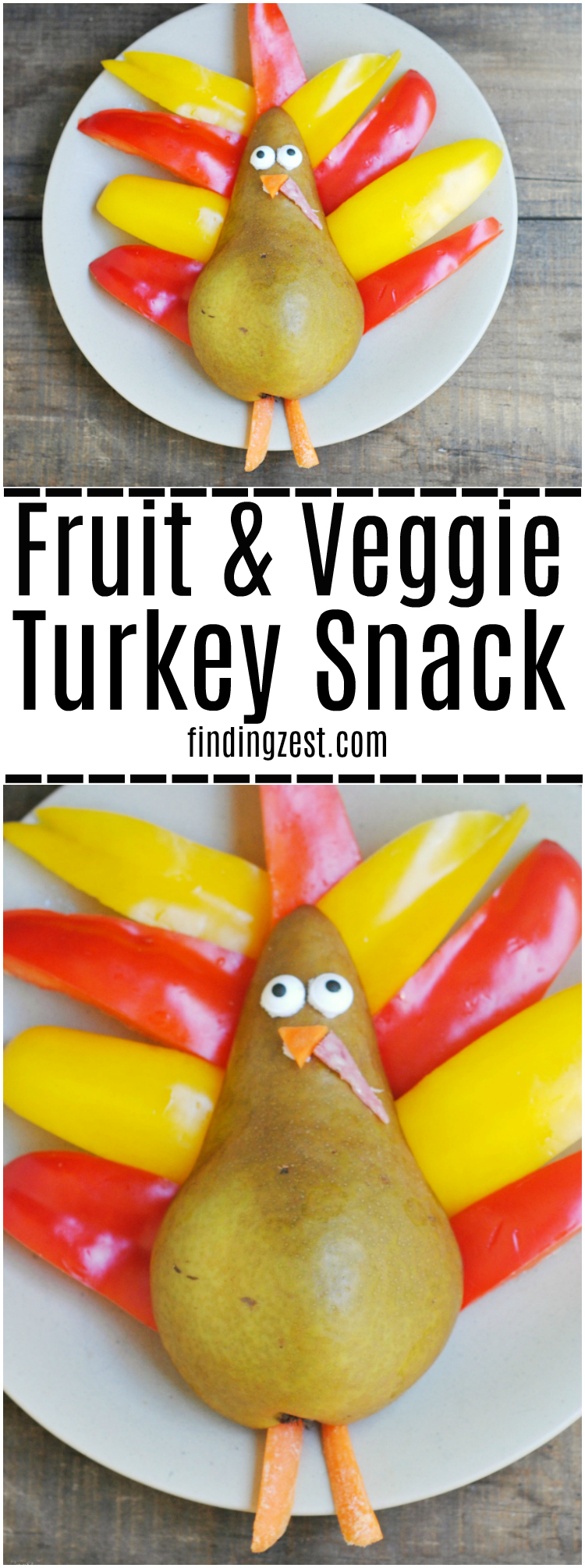 Make this easy fruit and veggie turkey snack for Thanksgiving! Makes a great healthy food art activity or snack option for kids.