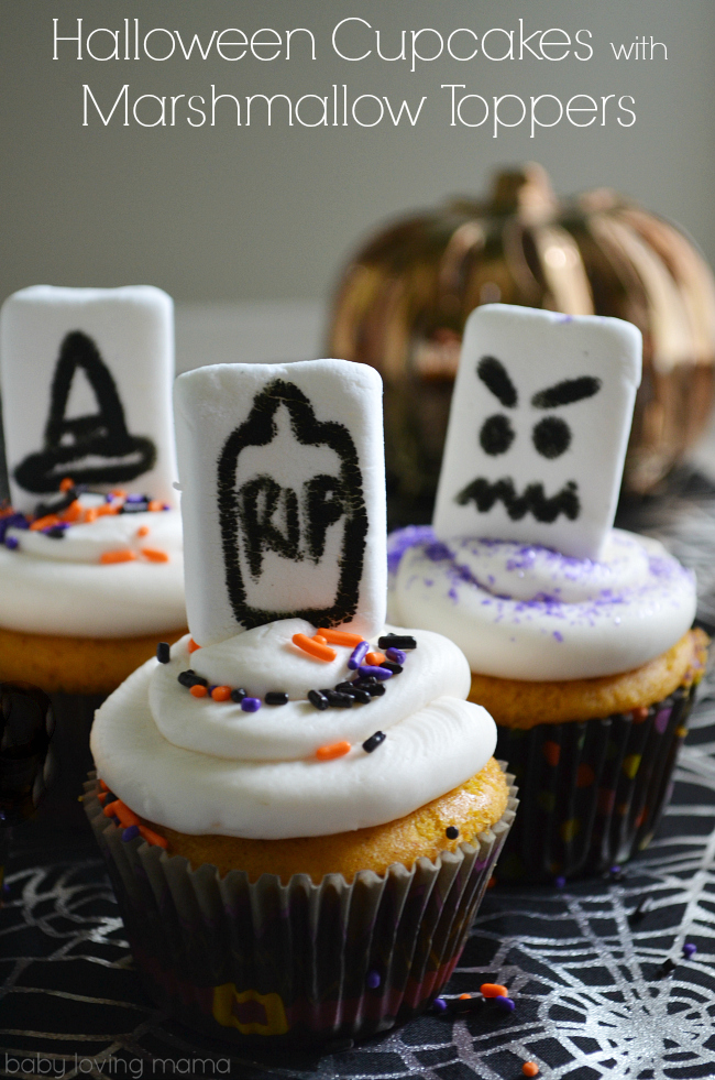 Halloween Cupcakes with Marshmallow Toppers