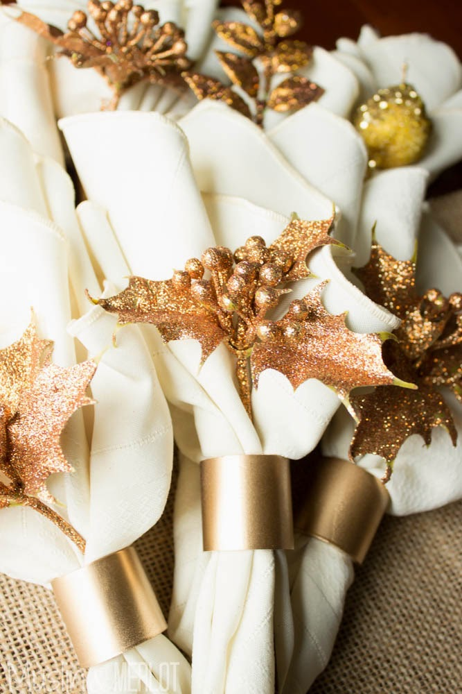PVC DIY Gold Napkin Rings Muslin and Merlot