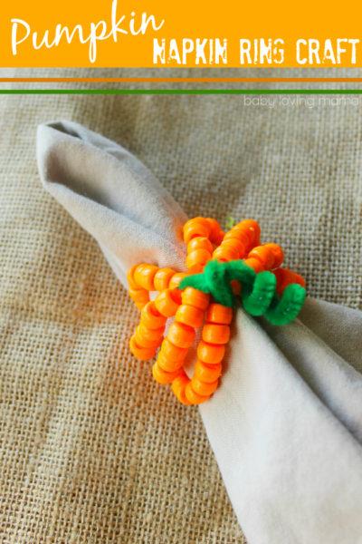 Pumpkin Napkin Rings: Kid Friendly Bead Craft