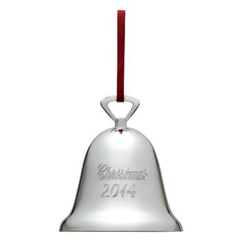 Silver Engraved Bell Christmas Ornament