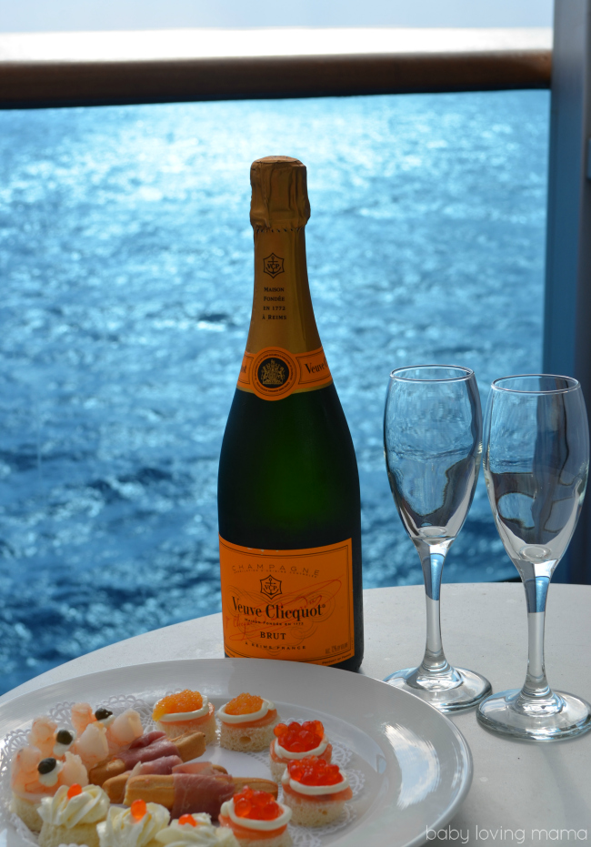 Caribbean Princess Champagne on Balcony