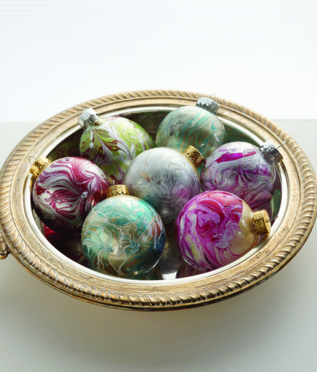 Diy Polish Star Ornament: DIY Marbled Ornaments From ARTFUL CHRISTMAS By Susan Wasinger