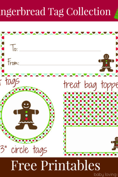 Gingerbread Holiday Gift Tags Free Printable for Download