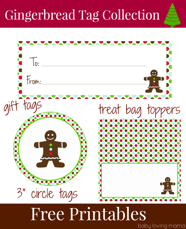 Gingerbread Holiday Tag Collection Free Printable Download