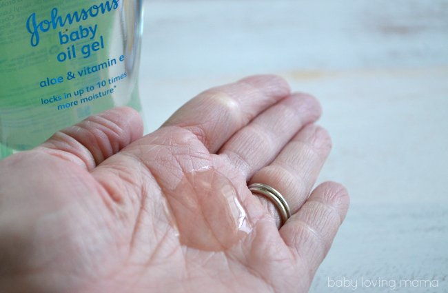 Johnsons Baby Oil Gel in hand