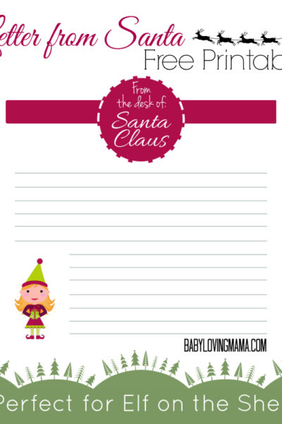 Letter from Santa Free Printable for Christmas