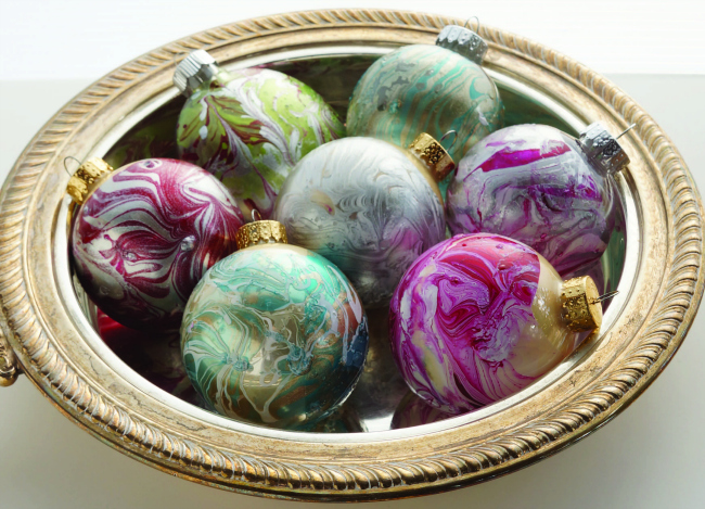 Marbled Christmas Ornaments Craft Tutorial