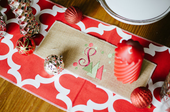 Ooh Baby Etsy Store Holiday Table Runner Monogrammed Burlap