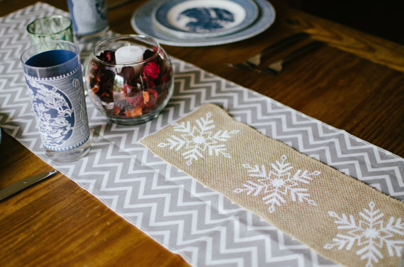 Ooh Baby Etsy Store Holiday Table Runner Snowflakes
