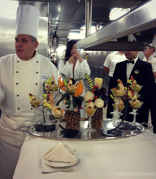 Princess Cruises Chefs Table Appetizers in Galley