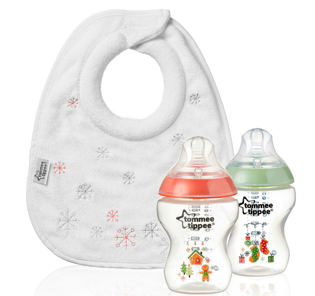 Tommee Tippee Gingbread Collection bib and bottles