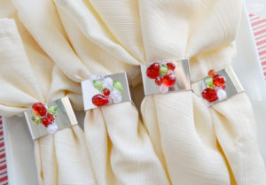 Colorful beaded napkin rings for Christmas