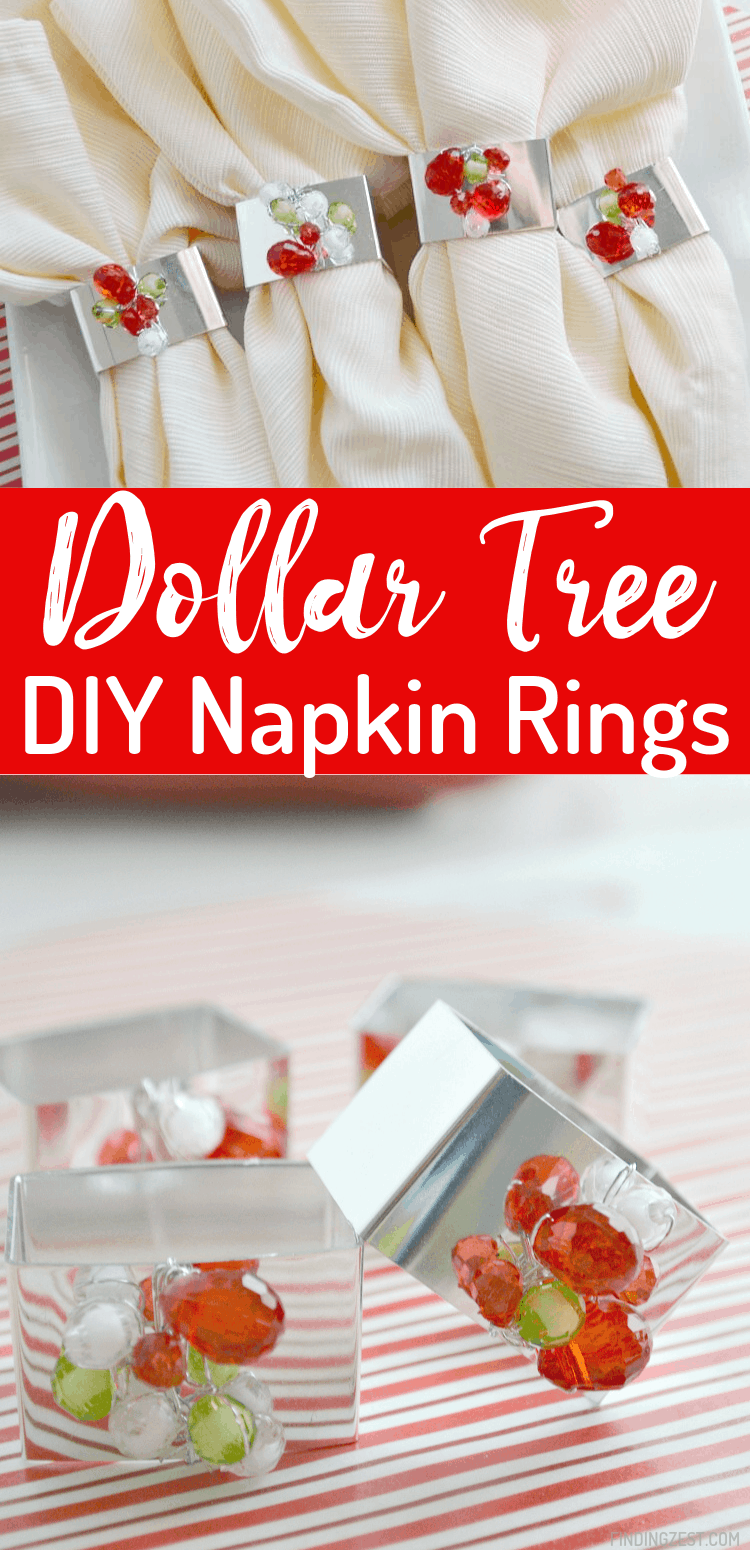 Dollar store napkin rings get an upgrade for the holiday with this beaded napkin ring craft. All you need is 15 minutes a few supplies to make these pretty but cheap napkin rings!