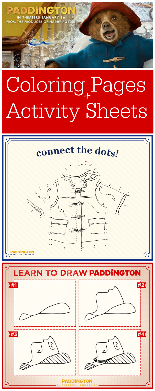 Paddington Bear Free Coloring Pages and Activity Sheets