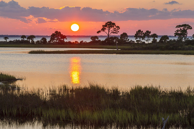 Gulf County Florida Sunset Over Marsh