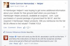 hamburger helper free ground beef offer