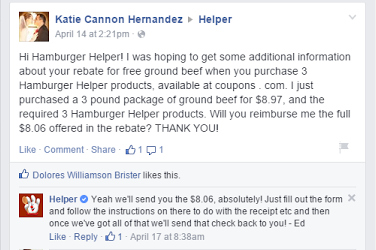 hamburger helper free ground beef offer