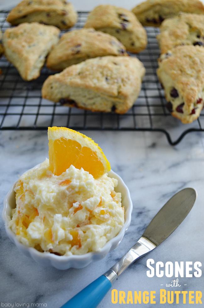 Cranberry Orange Scones with Orange Butter