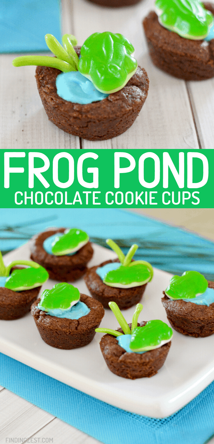 Frog cookie cups are a fun dessert for your frog birthday party, spring celebration or leap day!