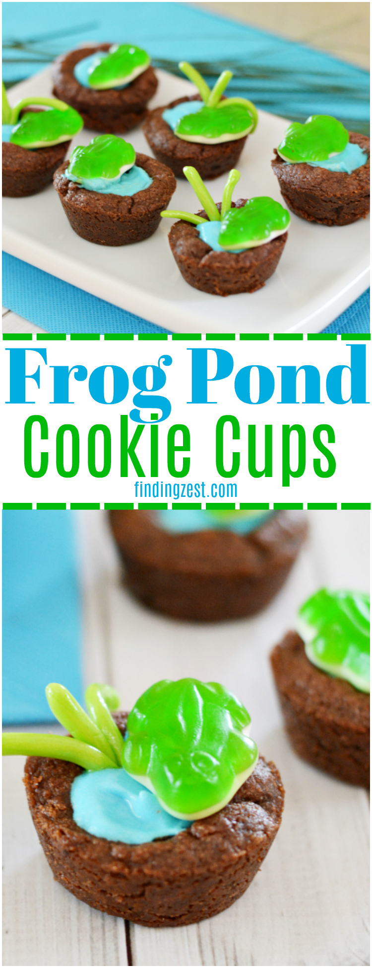 See how easy it is to make frog pond cookie cups. These kid-friendly treats celebrate nature and fit a frog birthday party or spring occasion!