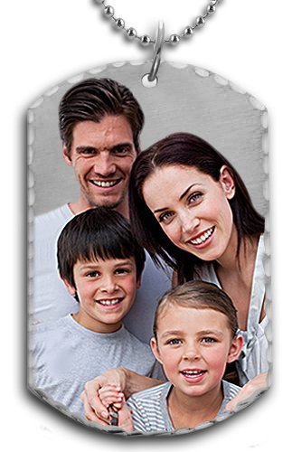 Pictures on Gold Sterling Silver Engraved Dog Tag