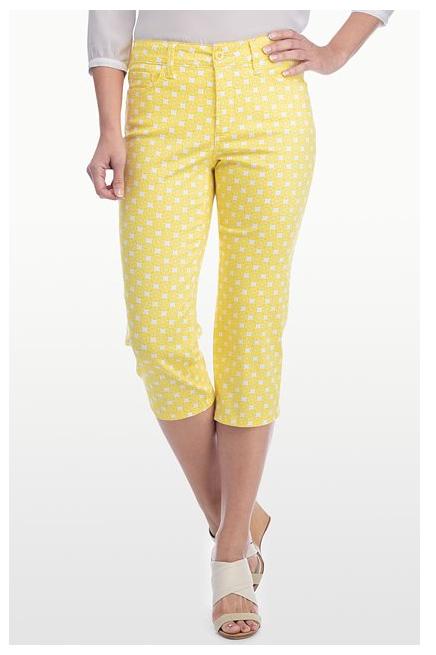NYDJ Yellow Print Capri