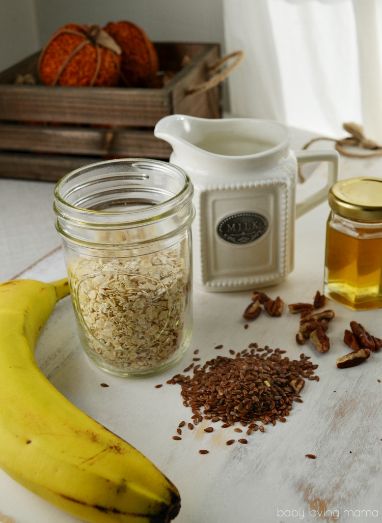 Overnight Banana Nut and Honey Oats with Milk
