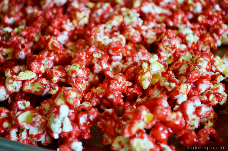 Bloody Popcorn with Raspberry Jello