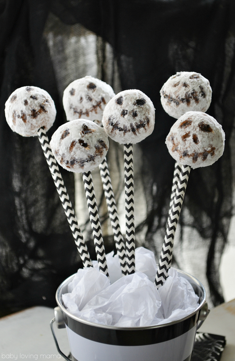 No Bake Jack Skellington Donut Pops