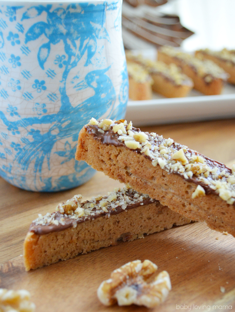 Orange Walnut Biscotti Dipped in Chocolate