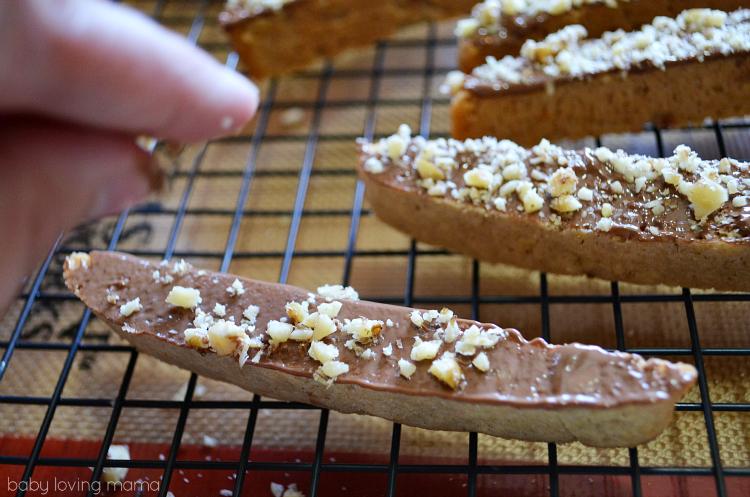 Walnut Biscotti with Chocolate