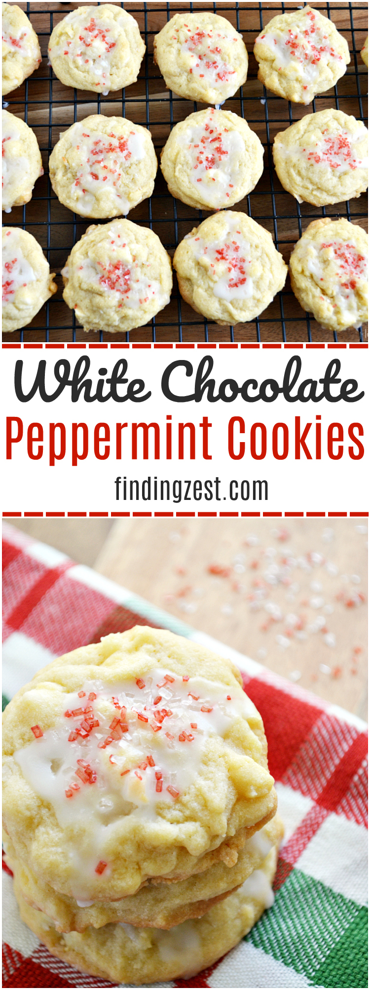 Enjoy these super soft white chocolate peppermint cookies with icing, including a surprise ingredient! These cookies are a perfect for holiday baking.