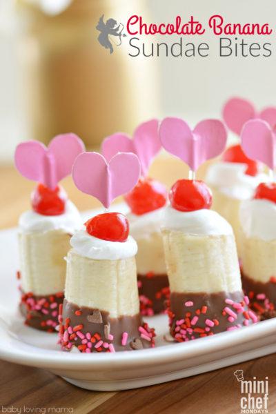 Chocolate Banana Sundae Bites for Valentine's Day