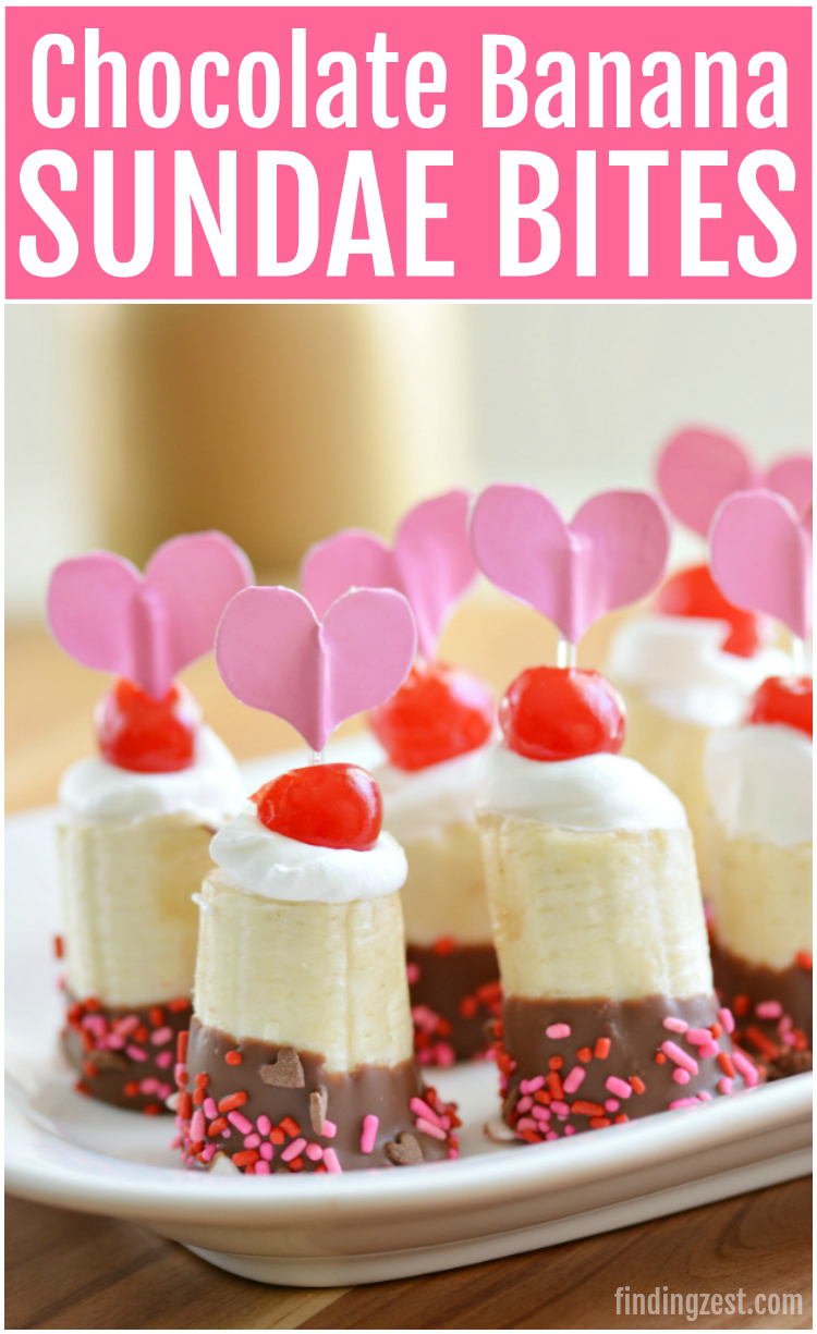 Give these chocolate banana sundae bites for Valentine's Day a try! This kid friendly frozen banana dessert works for any holiday or celebration.