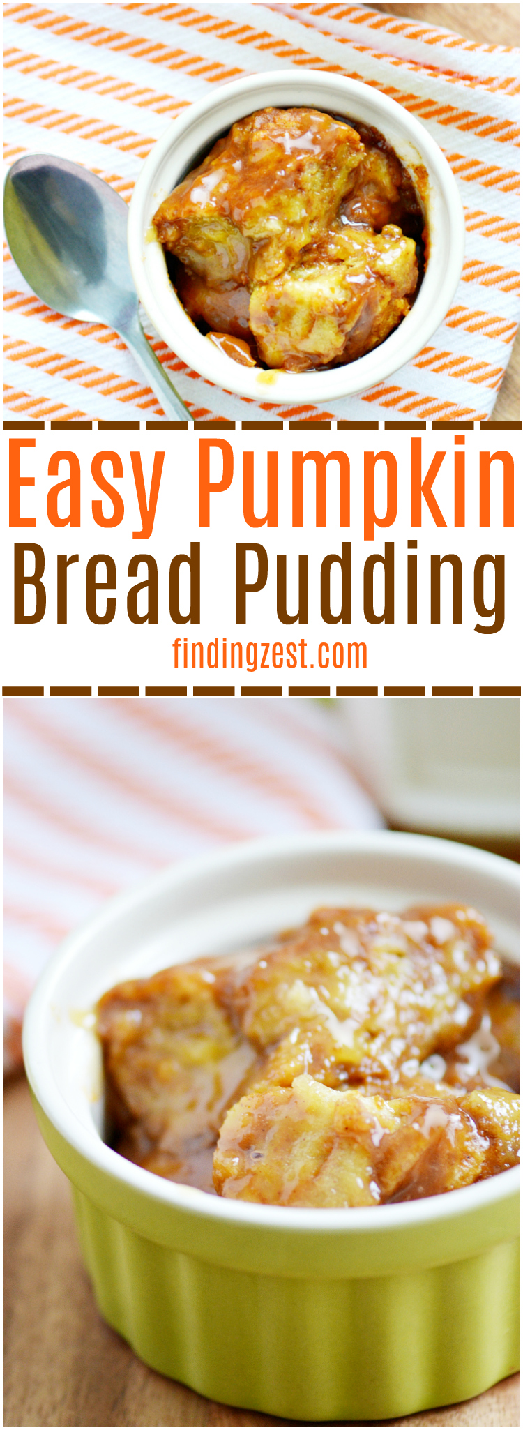Try this easy pumpkin bread pudding recipe and discover how simple it is to make an amazing bread pudding with brown sugar sauce! Tastes great topped with vanilla ice cream or whipped cream. Try it for Thanksgiving dessert!