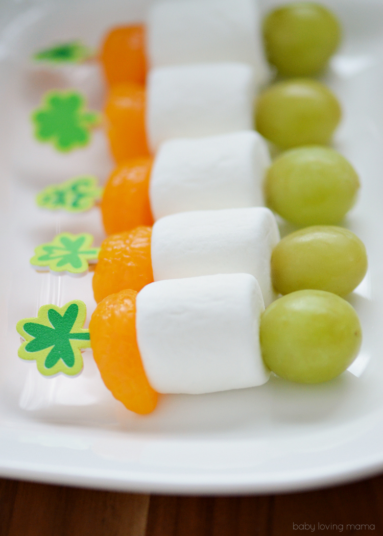 Irish Flag St Patricks Day Fruit Skewers
